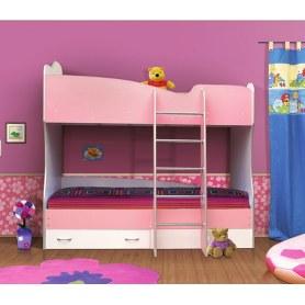 Кровать двухъярусная В-2, цвет розовый белый