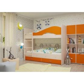 Детская двухъярусная кровать Мая с 2 ящиками на щитах, корпус Млечный дуб, фасад Оранжевый