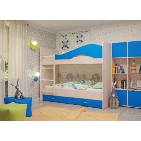 Детская двухъярусная кровать Мая с 2 ящиками на щитах, корпус Млечный дуб, фасад Синий