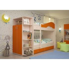 Детская двухъярусная кровать Мая на щитах со шкафом и ящиками, корпус Млечный дуб, фасад Оранжевый