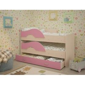 Детская двухъярусная кровать Радуга 1.6 с ящиком, корпус Млечный дуб, фасад Розовый