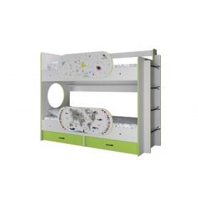 Детская двухъярусная кровать Умка с ящиками и бортиками Созвездие и Карта