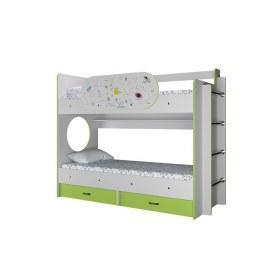 Детская двухъярусная кровать Умка с ящиками и бортиком Созвездие