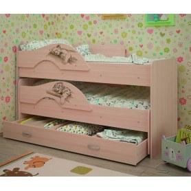 Детская двухъярусная кровать Радуга-Сафари 1.6 с ящиком, цвет Млечный дуб
