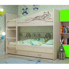 Детская двухъярусная кровать Мая-Сафари с 2 ящиками на щитах, цвет Млечный дуб