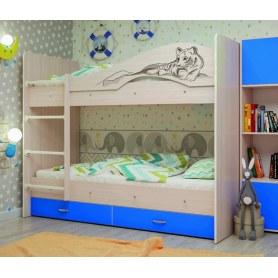 Детская двухъярусная кровать Мая-Сафари с 2 ящиками на щитах, корпус Млечный дуб, фасад Синий