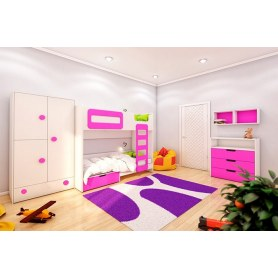 Детская двухэтажная кровать Брусника, Фуксия, ДМ-К2-1-1