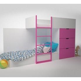Детская двухэтажная кровать с комодом  Брусника, Фуксия, ДМ-К2-1-2