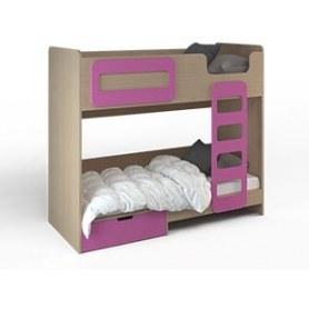 Детская кровать двухэтажная Малина, Ясень Шимо-Фуксия, ДМ-К2-4-1