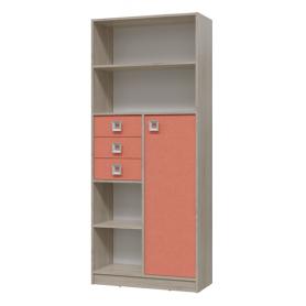 Детский шкаф-стеллаж Сити с ящиками (6-9414дубсон\коралл)