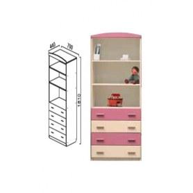 Шкаф В-4 Тедди, бежевый/розовый
