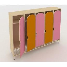 Детский шкаф ШГС5 Беж +Оранжевый + Розовый