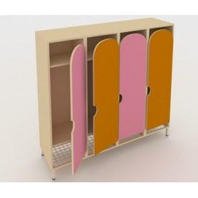 Детский шкаф ШГС4 Беж + Розовый + Оранжевый