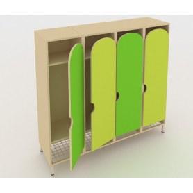 Детский шкаф ШГС4 Беж + Зеленая мамба + Лайм