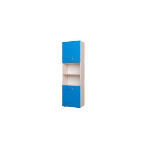 Детский шкаф 600 4Д Млечный дуб, Синий