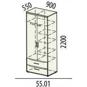Шкаф для одежды 55.01 Мегаполис 900х550х2200