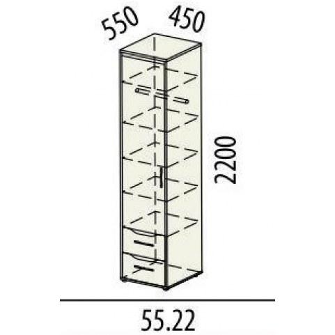 Шкаф-пенал левый 55.22 Мегаполис 450х550х2200