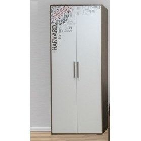Шкаф двухстворчатый комбинированный, Гарвард, гикори темный/белый