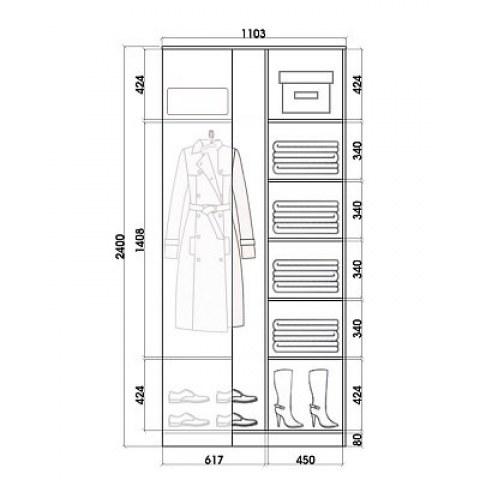 Шкаф-купе 2-х дверный Хит-У-24-4-77-23, 2400х1103х1103, фотопечать