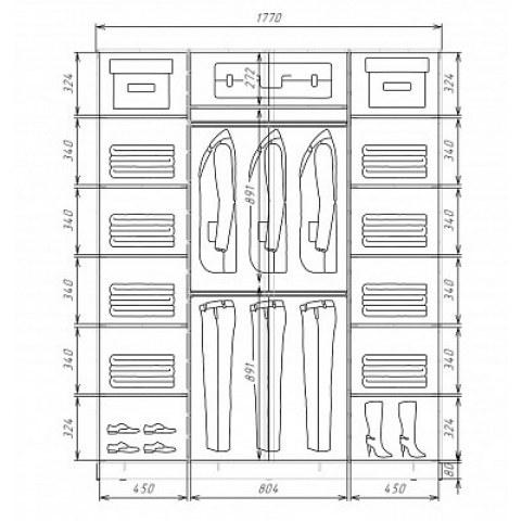 Шкаф-купе 3-х дверный Хит-22-18/2-777-19, 2200х1770х620, фотопечать