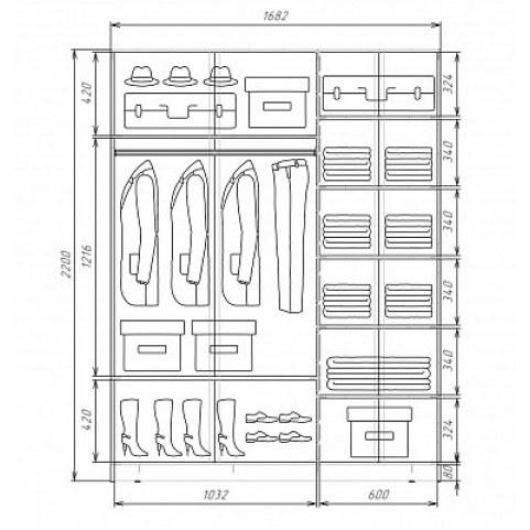 Шкаф-купе 2-х дверный Хит-22-17-77-26 2200х1682х620,, фотопечать