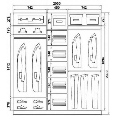 Шкаф-купе 3-х дверный Хит-23-20-777-29, 2300х2014х620, фотопечать