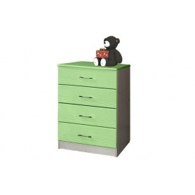 Детский комод Лего - 1, Дуб Линдберг/Эвкалипт металлик