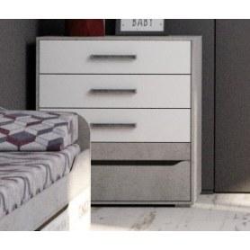 Комод Грей, 4 ящика, цемент светлый/белый