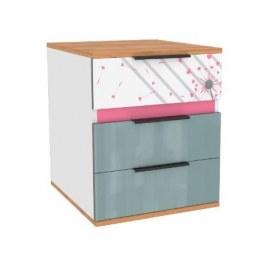 Прикроватная тумба Урбан 528.120, дуб золотой/белый/розовый