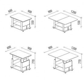 Журнальный стол-трансформер Агат-19.2  Дуб
