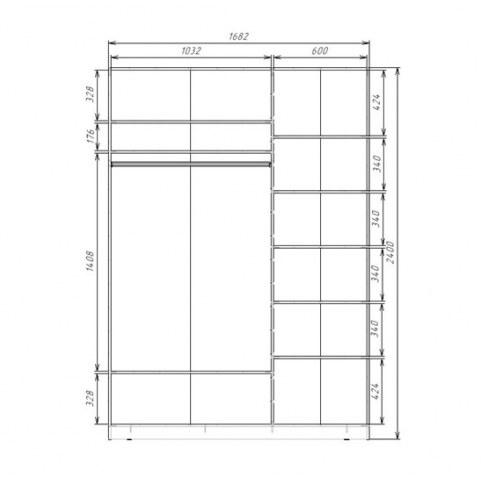 Шкаф-купе 2-х дверный 2400х1682х620 два зеркала, рисунок