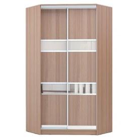 Угловой шкаф ГШУ-23-4-10-33, 2 двери ДСП/зеркало/ДСП/ зеркало/ДСП, Ясень шимо темный