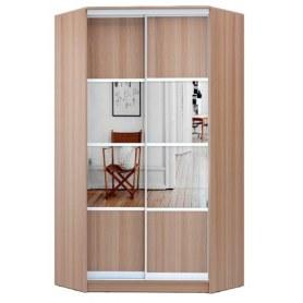 Угловой шкаф ГШУ-24-4-10-77, 2 двери  ДСП/зеркало/ зеркало/ДСП, Ясень шимо темный