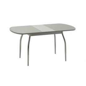 Обеденный стол Касабланка-2 с кожей крокодила (хром-лак) (серебро)