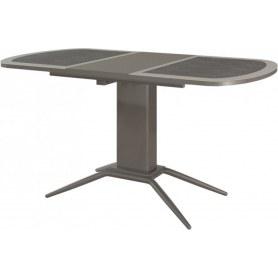 Кухонный обеденный стол Петра 1, кожа стекло (серебро)