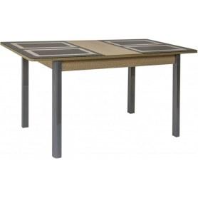 Кухонный стол Ницца-2 рис.1 (хром-лак, беленый дуб/коричневый)