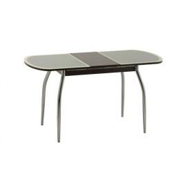 Обеденный стол Касабланка-1 с кожей крокодила (хром-лак) (венге/песочный)