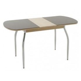 Кухонный обеденный стол Портофино-2 Рис-0 матовое стекло (ноги дерево, венге/песочное)