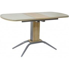 Кухонный обеденный стол Петра 2, кожа стекло (белый дуб)