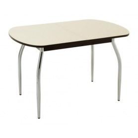 Кухонный обеденный стол Портофино-2 рис.0 матовое стекло (венге/песочное)