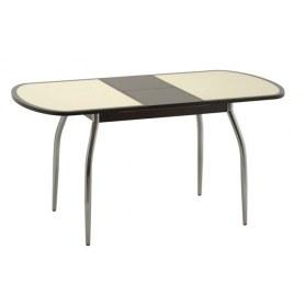 Обеденный стол Касабланка-мини (ноги хром) (венге/песочное)