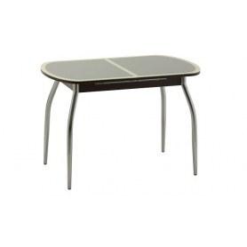 Обеденный стол Касабланка-2 с кожей крокодила (хром) (венге/песочный)