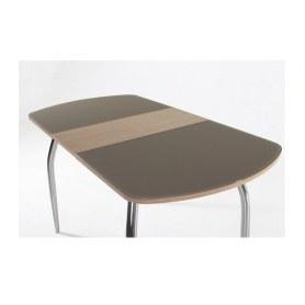 Кухонный стол раздвижной Гала-1 зебрано/стекло матовое капучино
