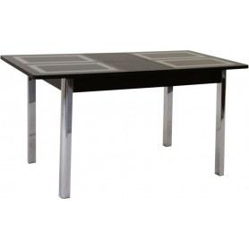 Кухонный стол Ницца-2 рис.1 (венге дерево №9, стекло песочное/венге лдсп)