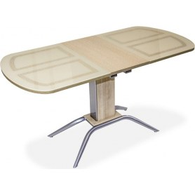 Кухонный обеденный стол Петра 2, хром-лак, беленый дуб/стекло песочное