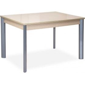 Кухонный обеденный стол Нагано-3 (хром лак, беленый дуб, стекло песочное)