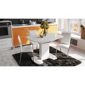 Обеденный раздвижной стол Портофино (СМ(ТД)-105.01.11(1)), цвет  Белый глянец/Стекло белое