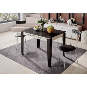 Обеденный раздвижной стол Лацио тип 1, цвет Венге Цаво/Дуб Белфорт с рисунком