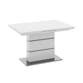 Раздвижной стол Амстердам со стеклом, цвет Белый