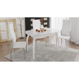 Обеденный раздвижной стол Ницца ( СМ-217.01.15), цвет Белый/Кожзам белый/Стекло с рисунком белое